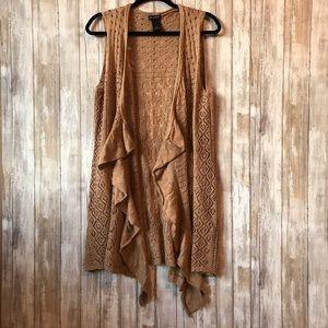 New Directions tan flowy vest